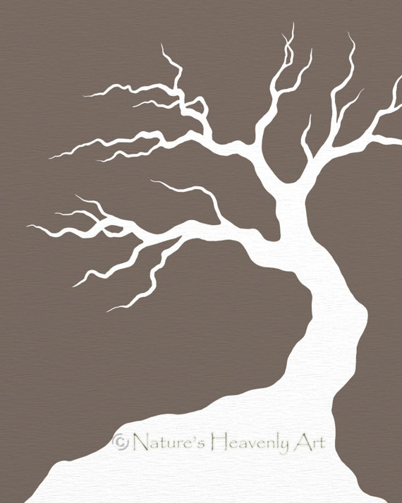 Spooky Tree Art, Custom Print, Bare Winter Tree, Modern Wall Decor.
