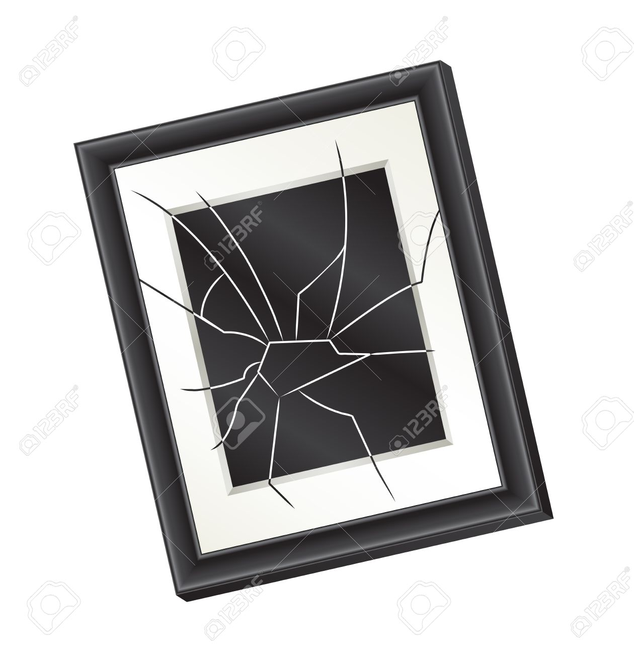 Illustration Of A Crooked Broken Picture Frame Hanging On A Wall.