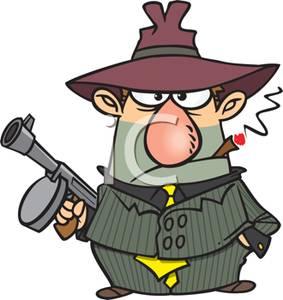 Cartoon of a Gangster Holding a Machine Gun and Smoking a Cigar.