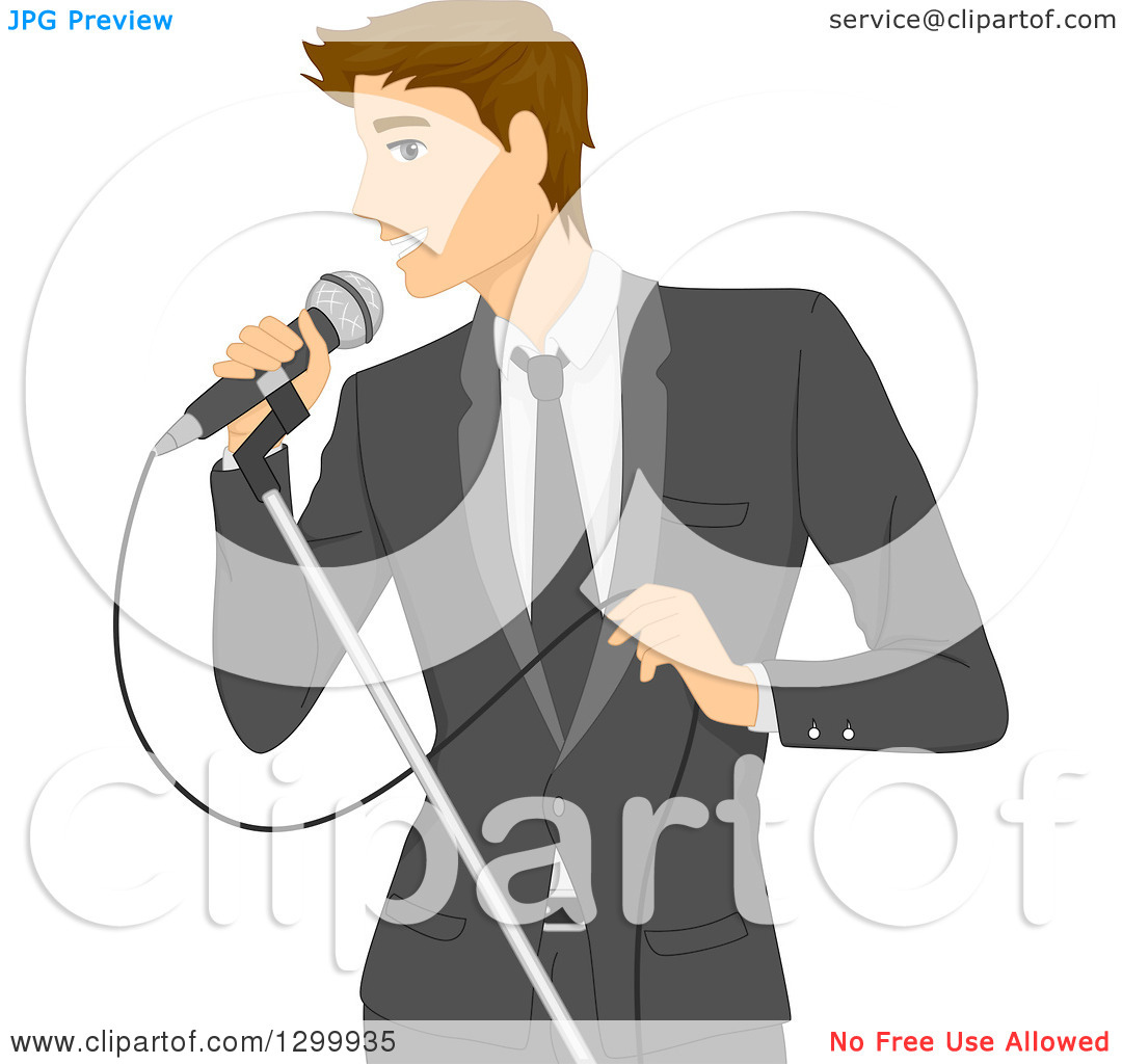 Clipart of a Formal Brunette White Man in a Suit, Singing into a.