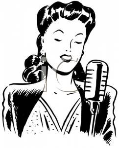 Retro Cartoon of a Woman Entertainer At a Microphone.