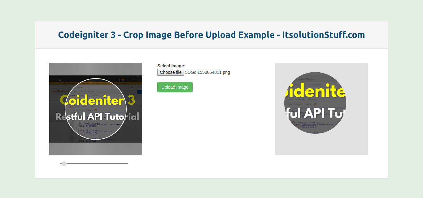 Crop Image Before Upload Codeigniter 3 Example.