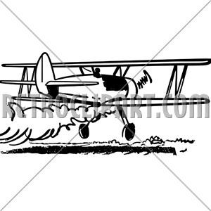 Crop Dusting Biplane, RetroClipArt.com.