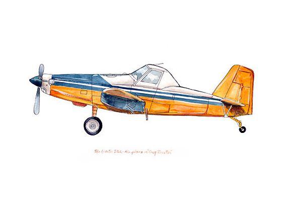 """Air Tractor 502 """"Crop Duster"""" avión clásico imprimir acuarela, 8 x."""