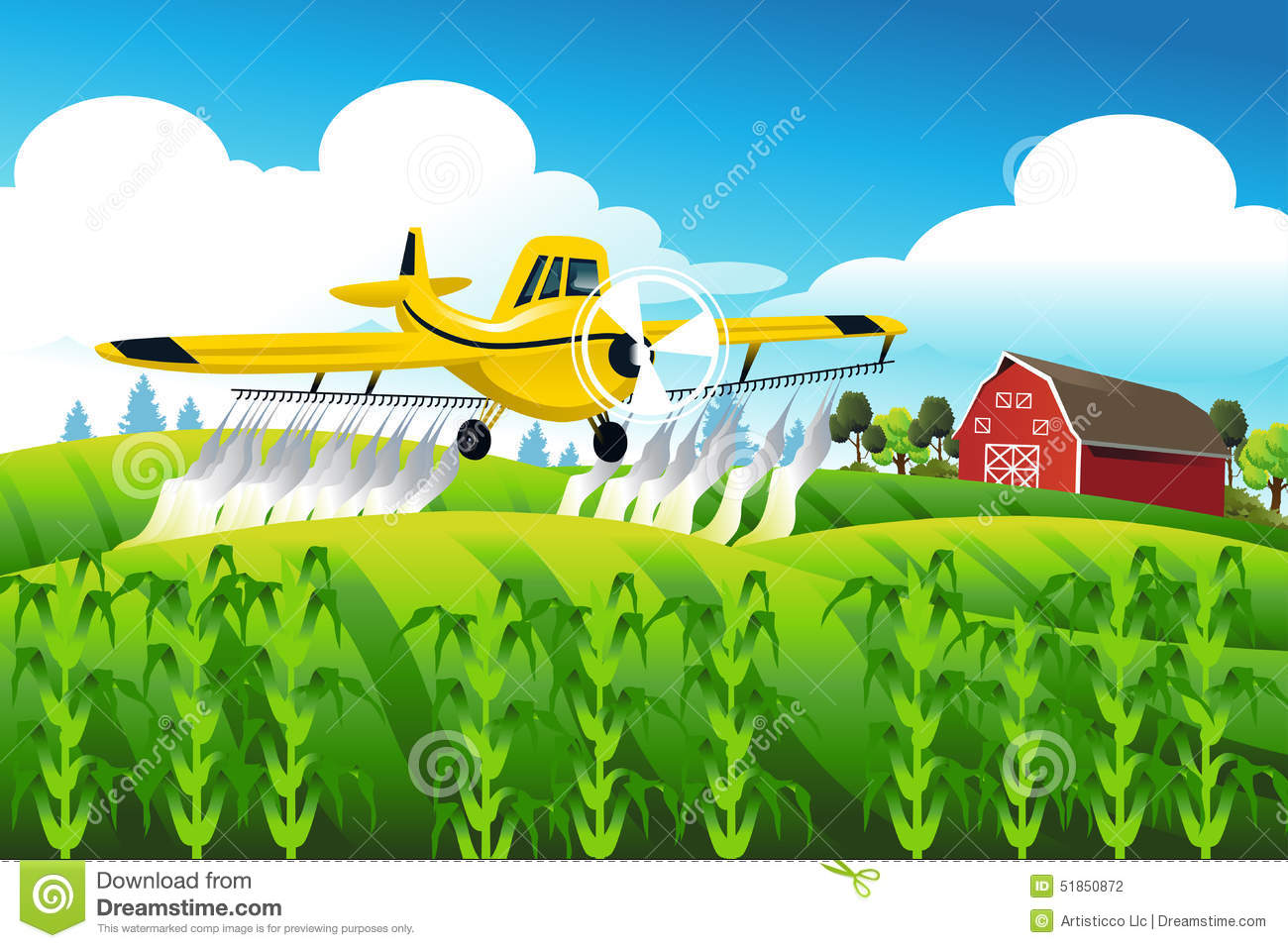 Crop Duster Flying Over A Field Stock Vector.