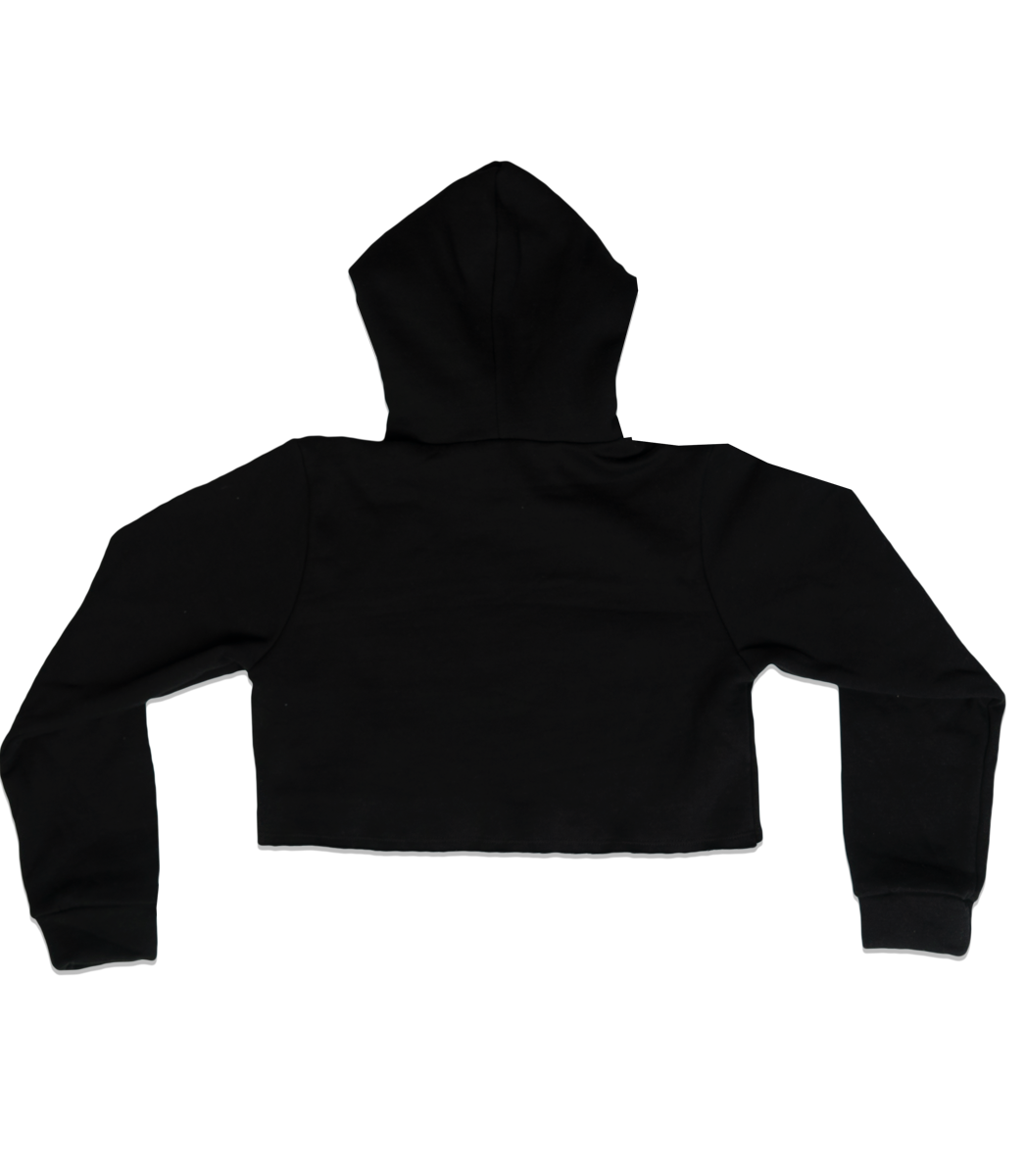 INGLEWOOD CROP TOP HOODIE BLACK.