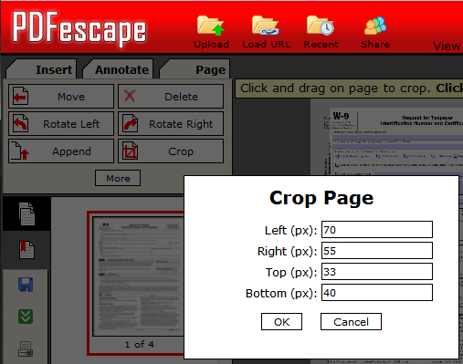 Crop Pages of PDF Files for Free.
