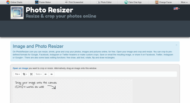 Access photoresizer.com. Resize and crop photos, images and pictures.