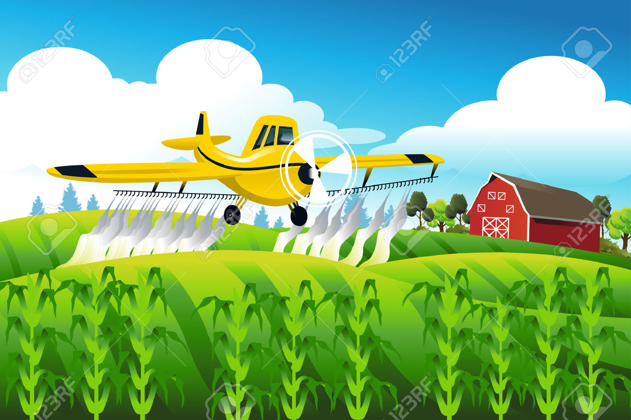 A Vector Illustration Of Crop Duster Flying Over A Field Spraying.