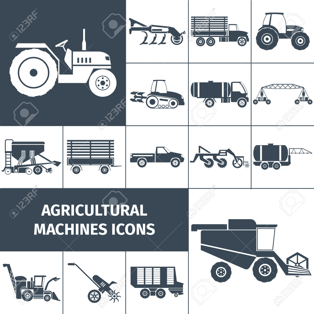 Agricultural Machinery Black White Square Icons Set With Farming.
