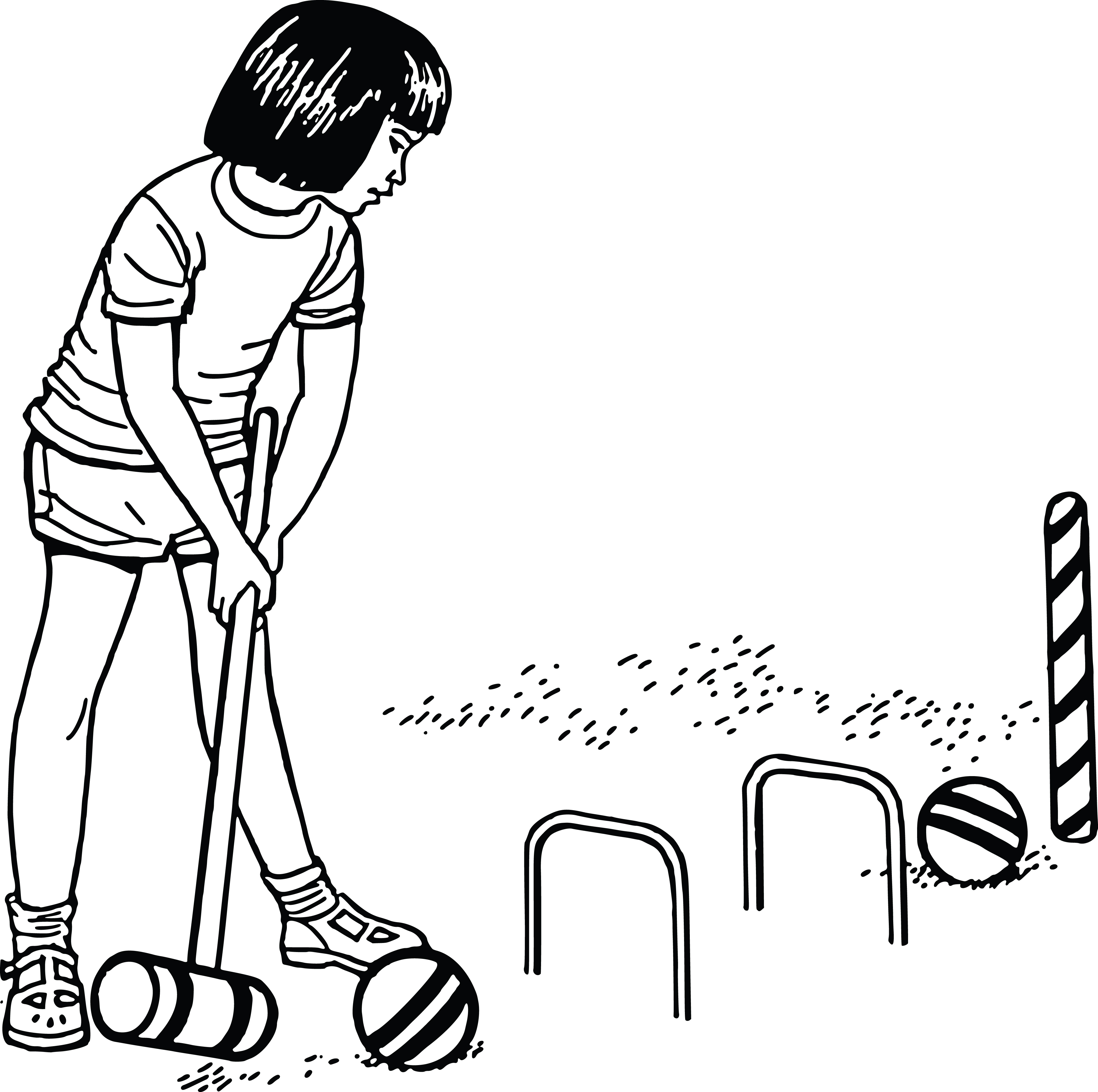 Free Clipart Of A Girl Playing Croquet.