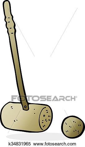 Cartoon croquet mallet and ball Clipart.
