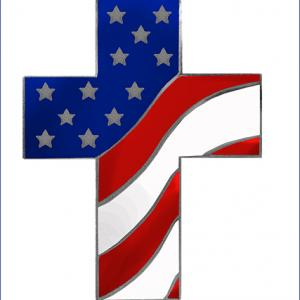 Cross And American Flag Clipart.