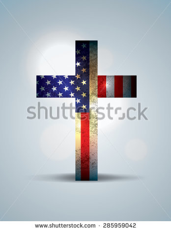 American Flag Cross Stock Images, Royalty.