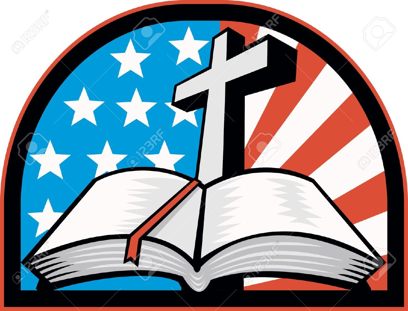 Cross and flag clipart.