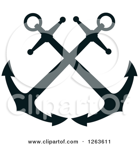 Crossed anchors clipart.