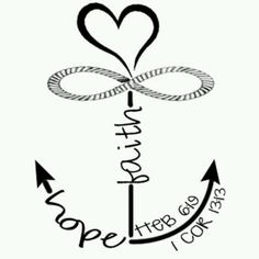 Anchor with love knot clipart.