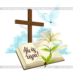 Wooden cross with bible, lily and dove. Happy Easte.