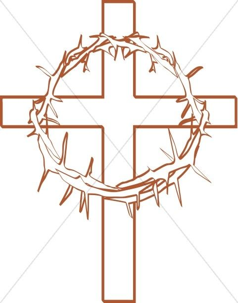 Crown of Thorns with Cross Outline.