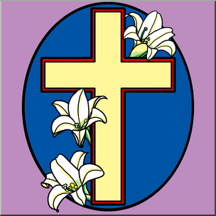 Clip Art: Religious: Cross with Easter Lilies Color I.