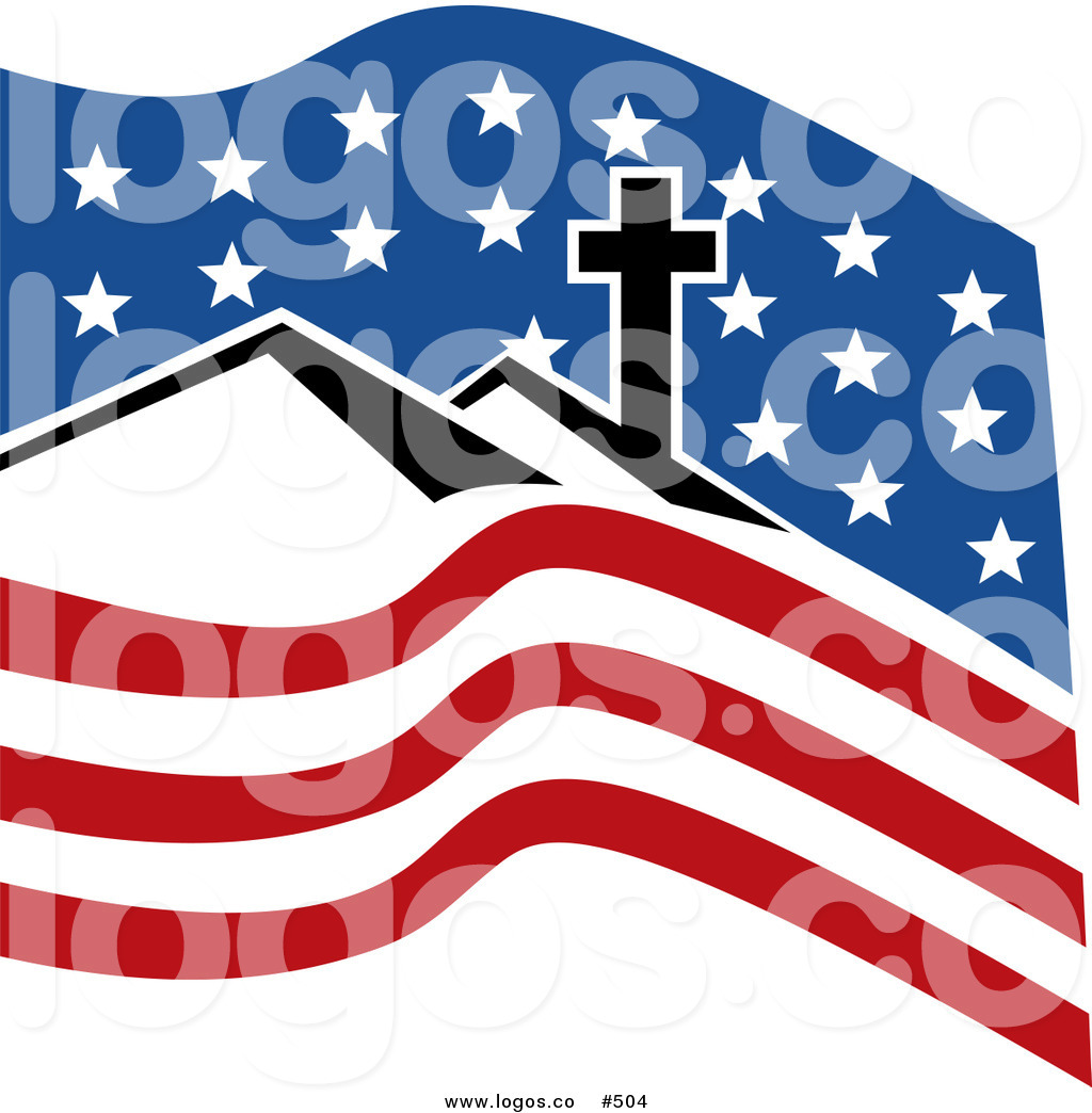Royalty Free Vector Logo of a Cross, Hills and American Flag.