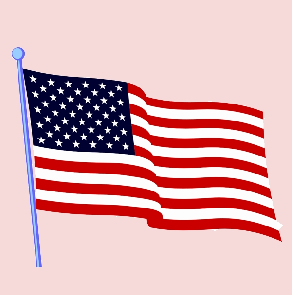 American Flag and Cross Clipart.