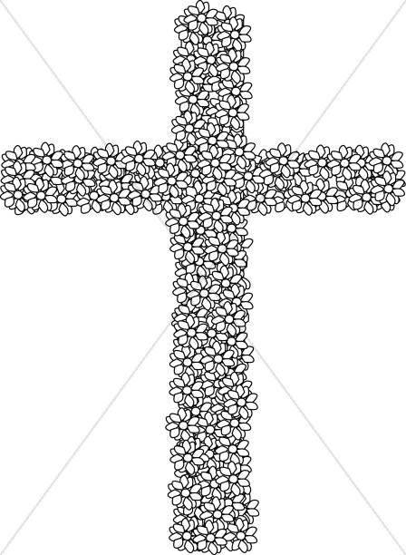 Black and White Simple Flower Cross.