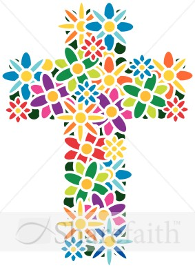 Cross With Flowers Clipart.