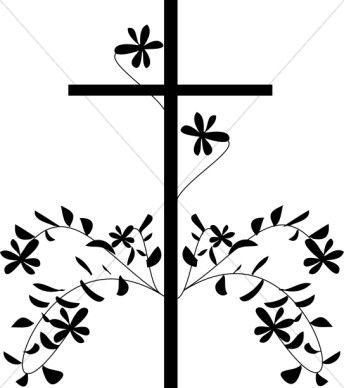 Fancy Cross Clip Art Black cross and flower.
