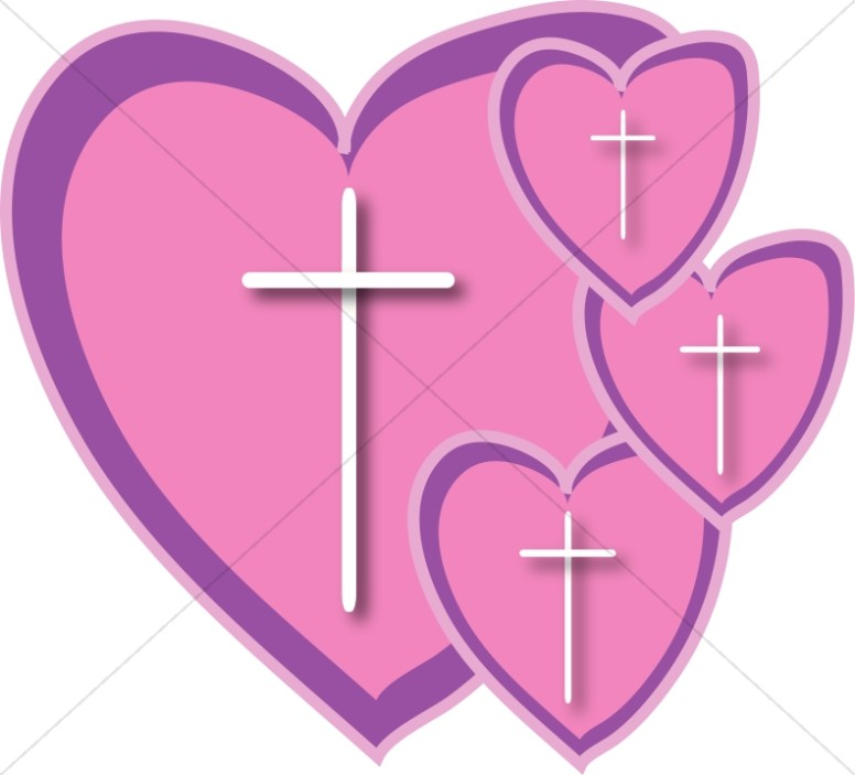 Four Pink hearts with Crosses.