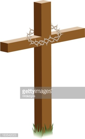 Cross with Crown of Thorns Clipart Image.