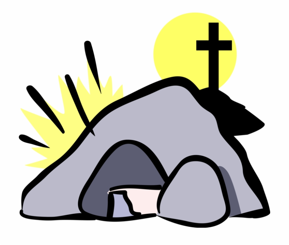Vector Illustration Of Tomb Of Jesus Christ With Calvary.