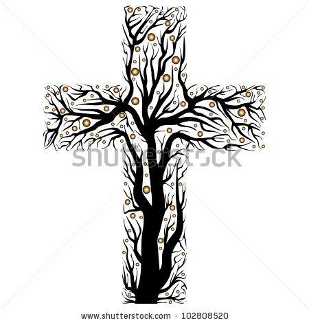 Black Christian Cross Tree Shape On Stock Vector 102809678.