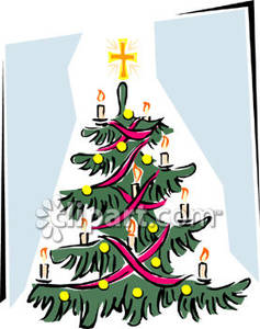 Christmas Tree And Cross Clipart.
