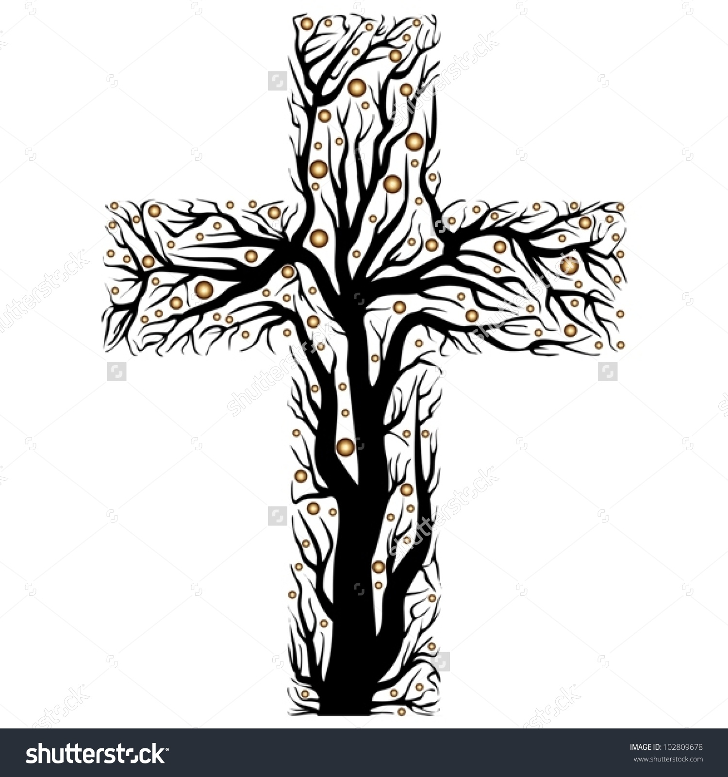 Cross And Tree Clipart.
