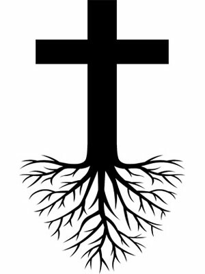 Tree of Life tattoo idea with celtic roots and cross.