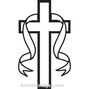 Black white clip art picture of a black and white cross with ribbon.