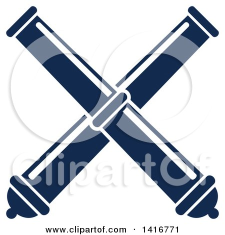 Navy Blue Crossed Telescopes or Cannons Posters, Art Prints by.