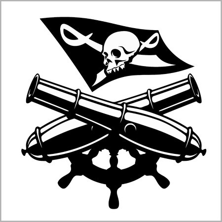 Piracy flag and crossed cannon: Royalty.