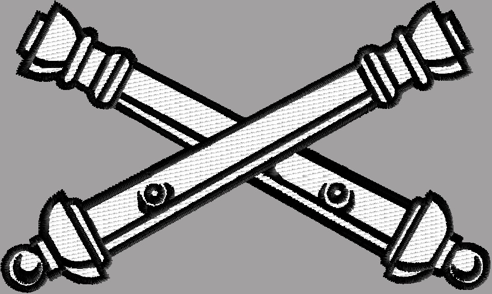 Artillery Cross Cannons Badge 3 size pack logo embroidery design.