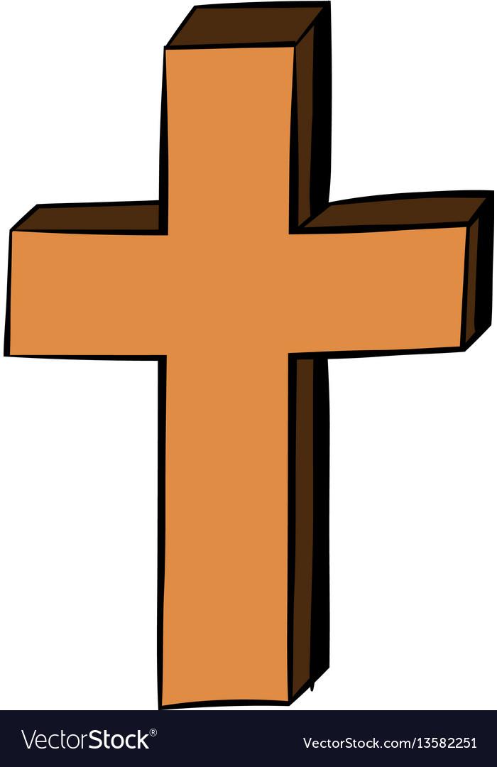 Christian cross icon cartoon.