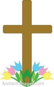 Clipart Illustration of an Easter Cross With Tulips at the Base.