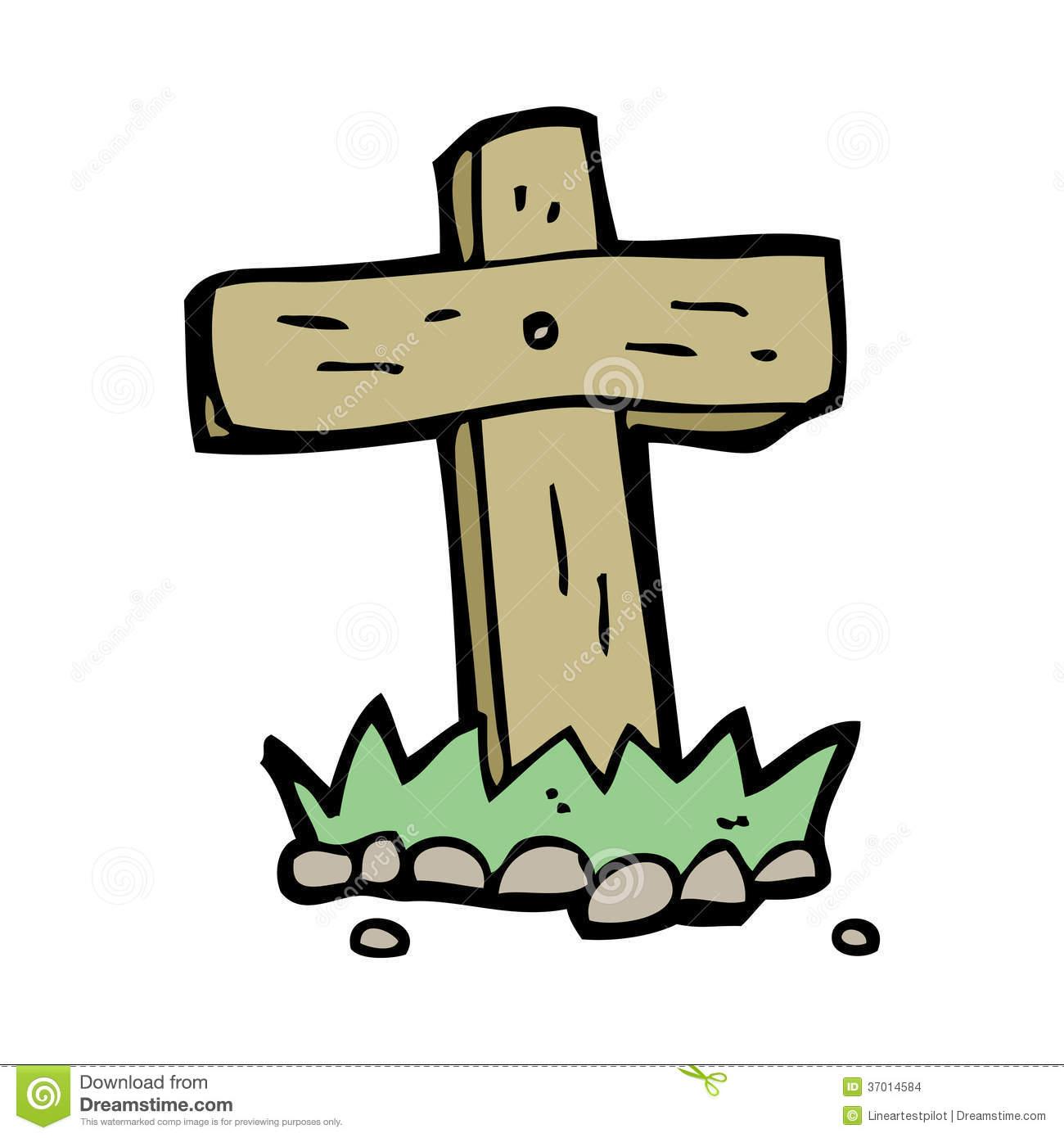 Cartoon wooden cross grave stock vector. Illustration of clip.