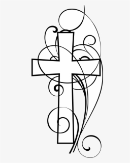 Free Cross Black And White Clip Art with No Background.