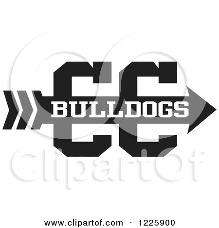Clipart of a CC Arrow with Cross Country Running Text in Black and.