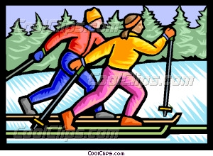 Cross country skiers Vector Clip art.