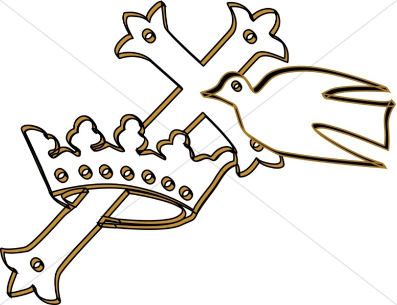 Cross in a Crown with Dove.