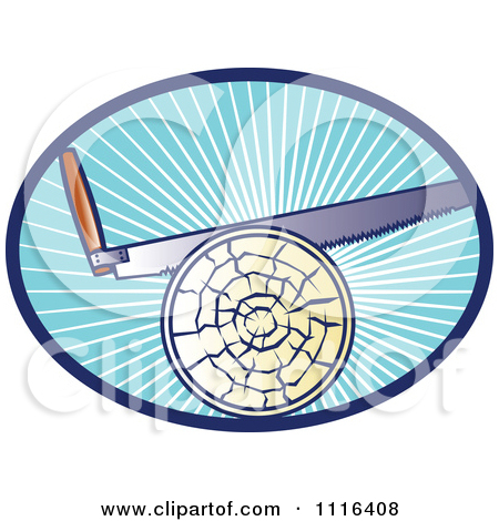 Clipart Cross Cut Hand Saw Cutting A Log In A Blue Oval Of Rays.