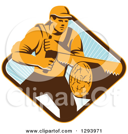 Clipart Retro Crossed Chainsaws With A Circle Of Wood And Oak.