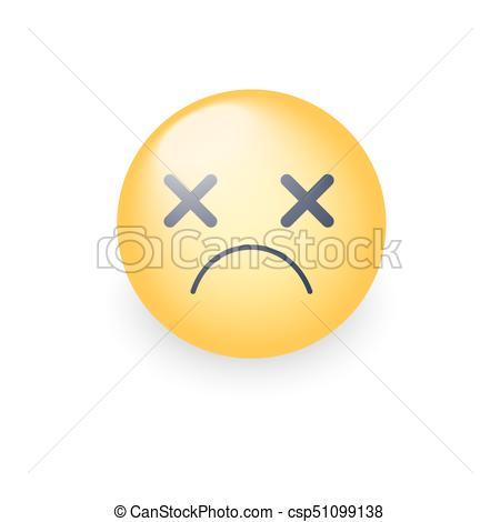 Dizzy emoji face. Cross eyes emoticon vector icon. Sad smiley..